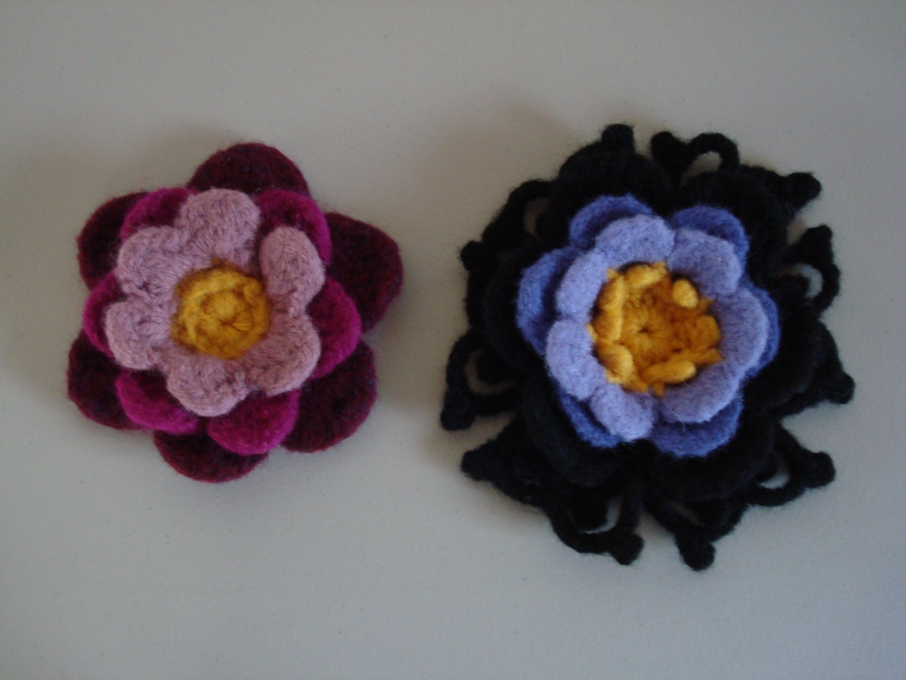 These felted crochet flowers turned out better than I expected.