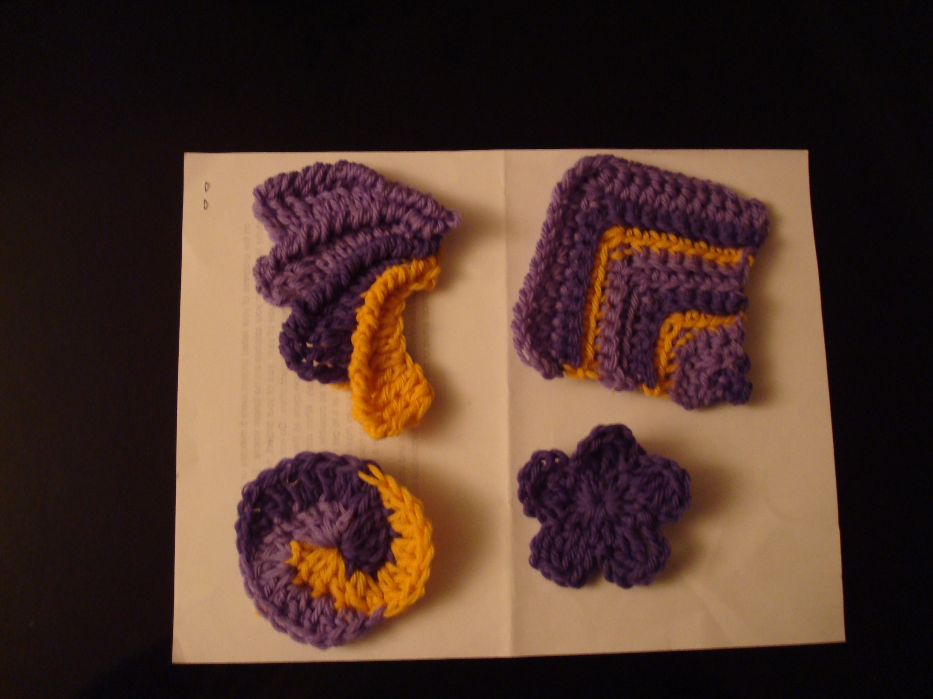Purple and Yellow Freeform Crochet Purse