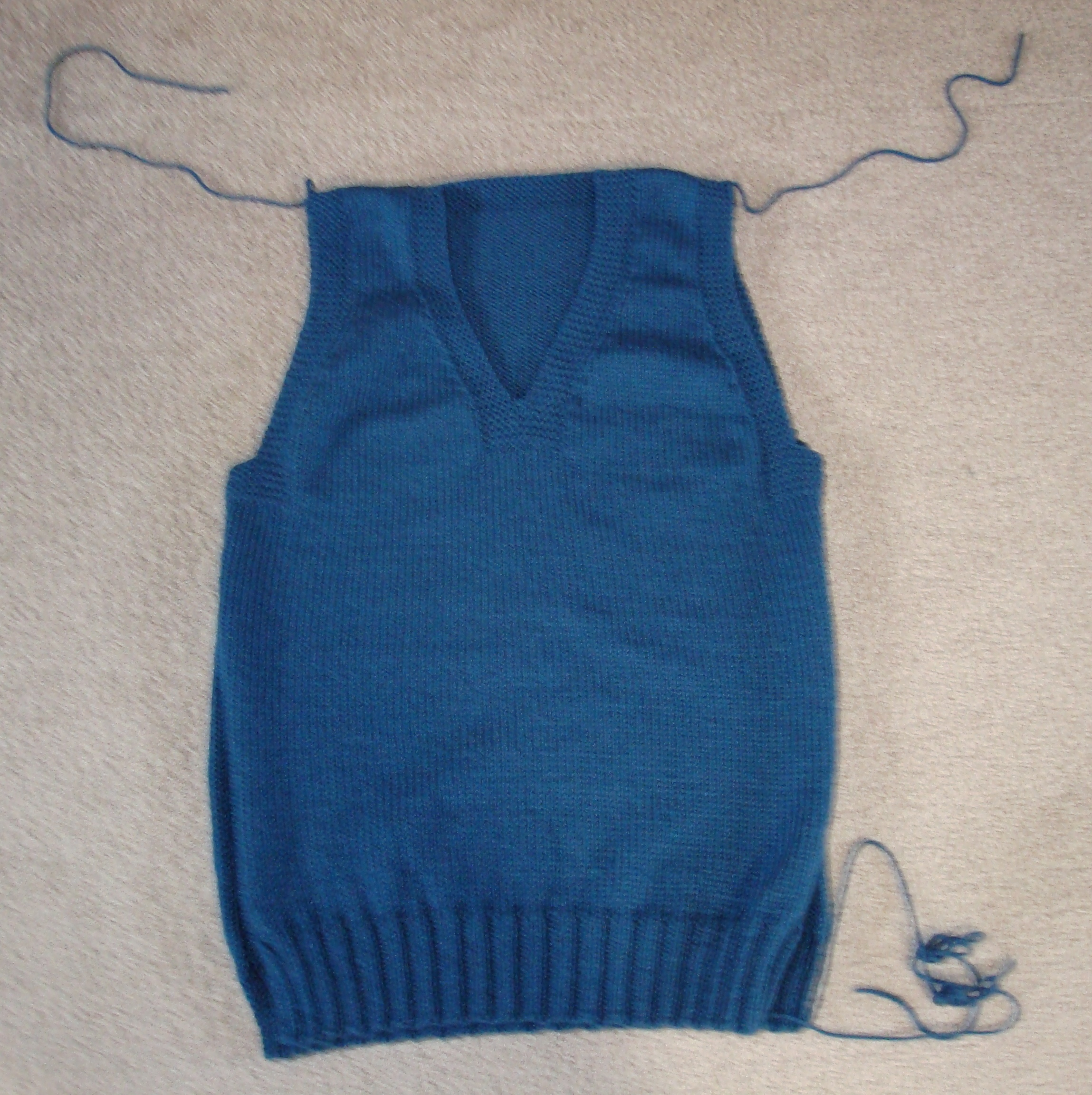 My almost finished Christmas-at-Sea knitted vest.