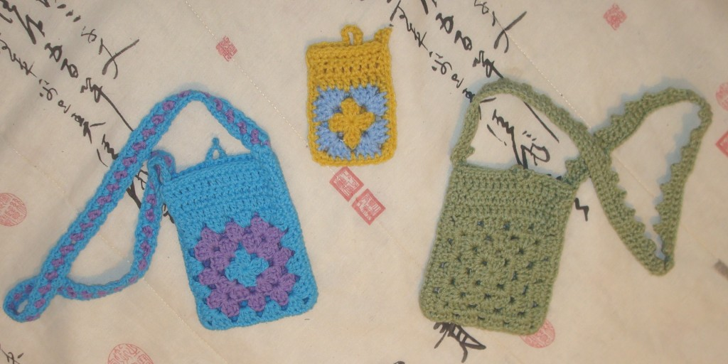 granny square bags and cozies