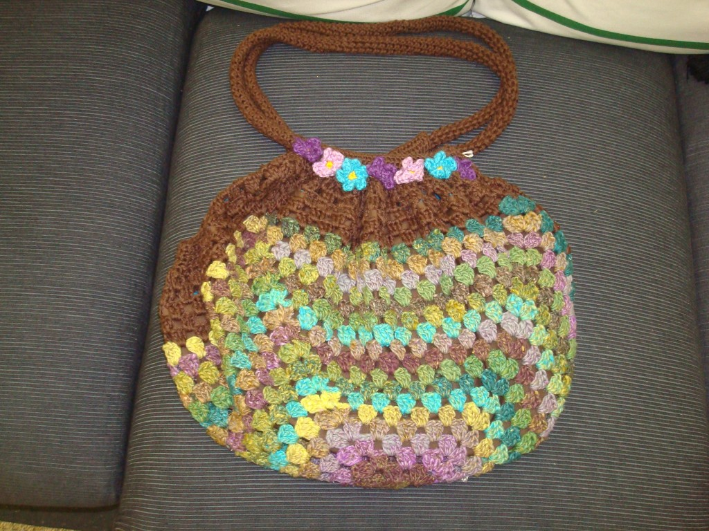 Granny Square Bag made with a beautiful Noro yarn