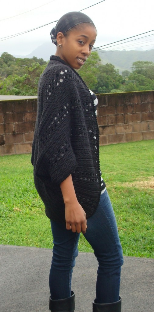 Side view of the Crochet X-Stitch Shrug