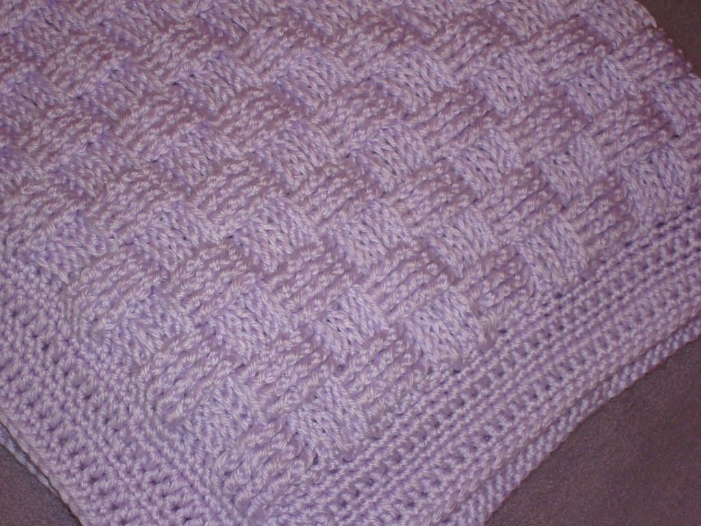 Cousin Crystals Crocheted Basket Weave Baby Blanket Yarn Over