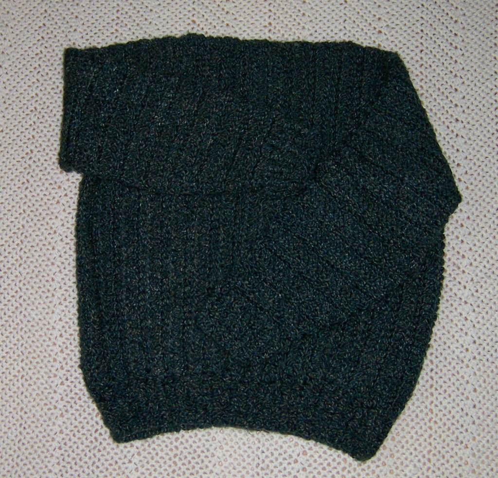 A boat neck pullover crocheted in Lion Brand Homespun