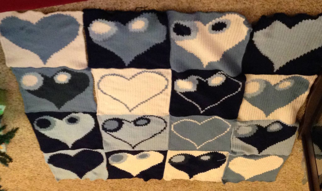 Another version of Lisa's Heart afghan.